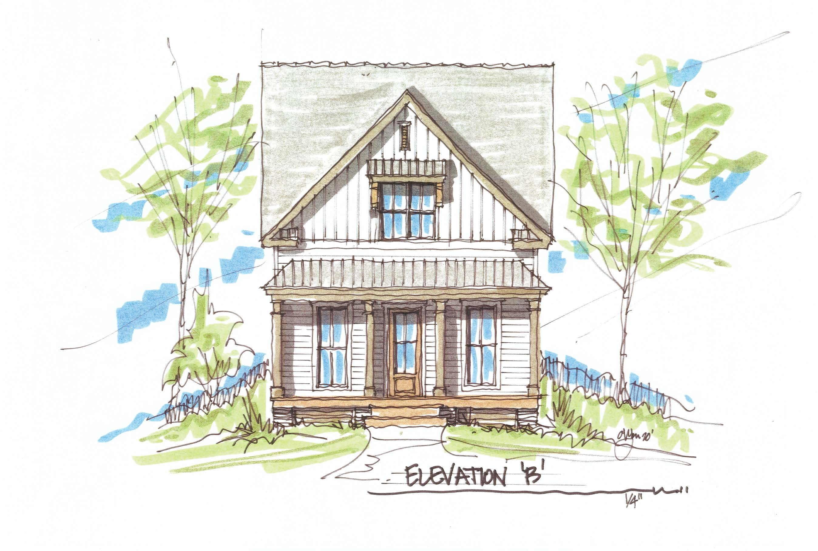 Davidson Springs Carriage House Front Elevation 2